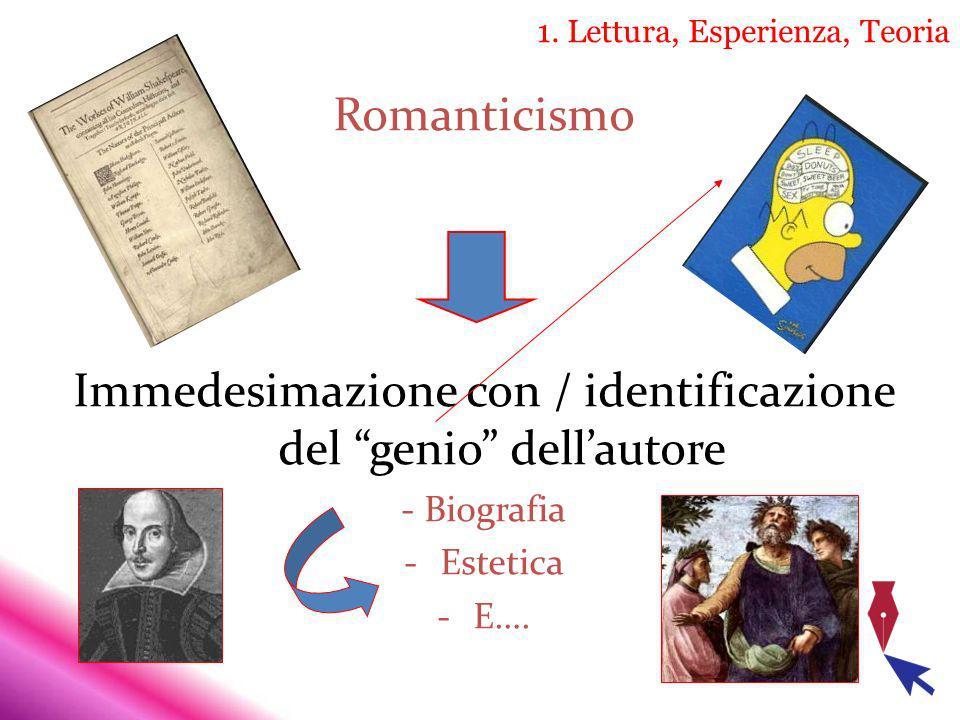 1. Lettura, Esperienza, Teoria Romanticismo Immedesimazione con / identificazione del genio dellautore - Biografia -Estetica -E….