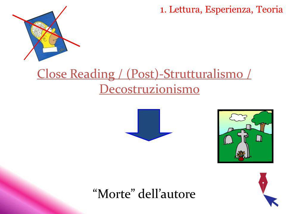 1. Lettura, Esperienza, Teoria Close Reading / (Post)-Strutturalismo / Decostruzionismo Morte dellautore