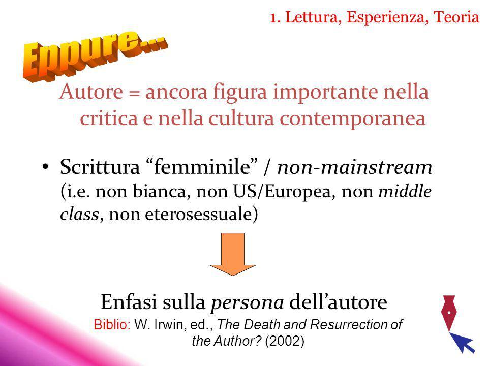 1. Lettura, Esperienza, Teoria Autore = ancora figura importante nella critica e nella cultura contemporanea Scrittura femminile / non mainstream (i.e