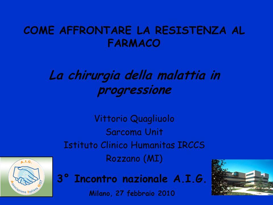COME AFFRONTARE LA RESISTENZA AL FARMACO La chirurgia della malattia in progressione Vittorio Quagliuolo Sarcoma Unit Istituto Clinico Humanitas IRCCS