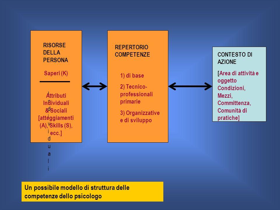 RISORSE DELLA PERSONA REPERTORIO COMPETENZE CONTESTO DI AZIONE [Area di attività e oggetto Condizioni, Mezzi, Committenza, Comunità di pratiche] 1) di