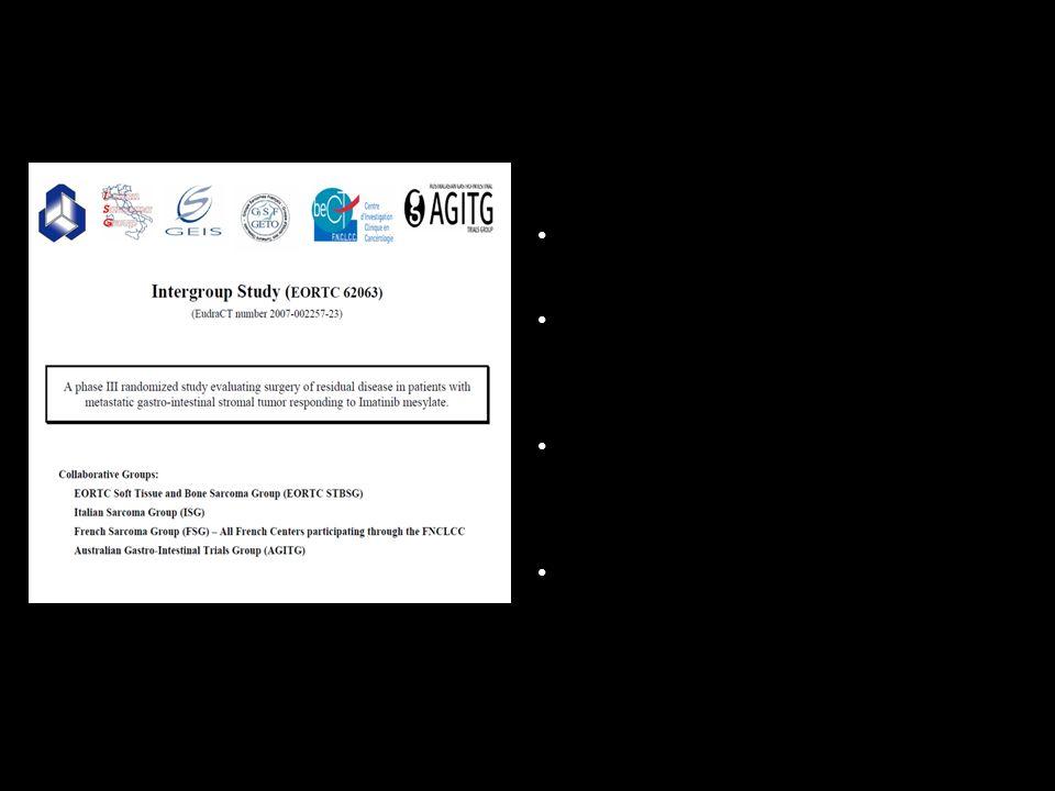 Randomizzazione 1:1 2 braccia : Imatinib vs Imatinib + chirurgia 350 Pazienti 59 centri (Europa e Australia)