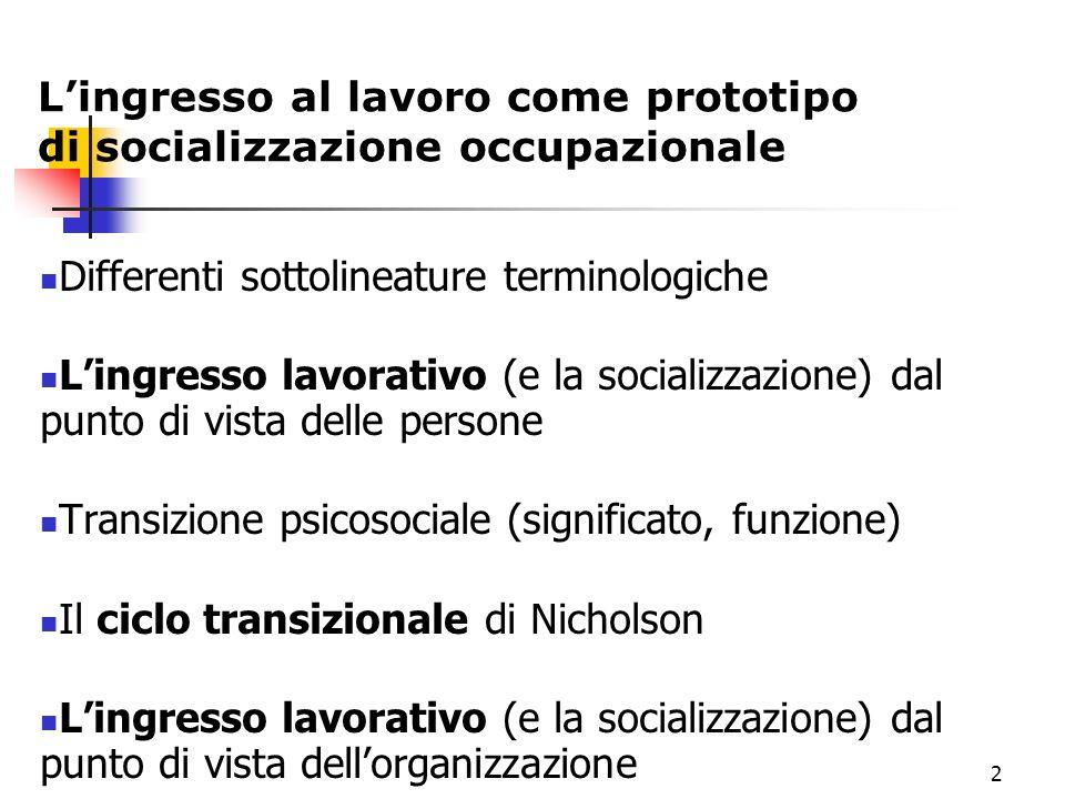 1 Transizioni al lavoro e socializzazione occupazionale