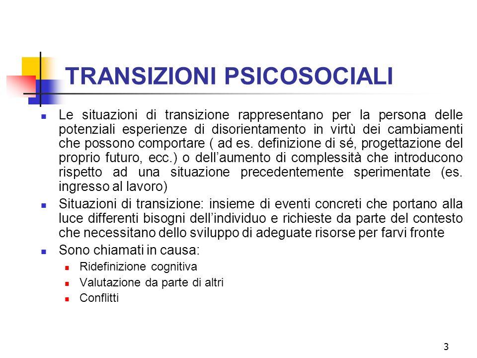 2 Differenti sottolineature terminologiche Lingresso lavorativo (e la socializzazione) dal punto di vista delle persone Transizione psicosociale (sign