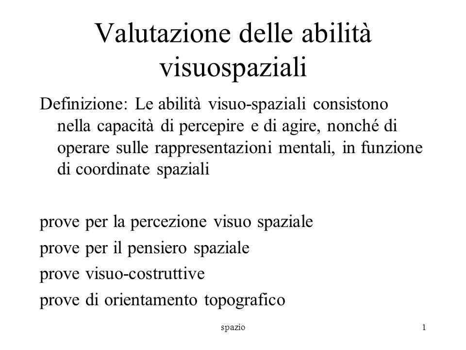 spazio1 Valutazione delle abilità visuospaziali Definizione: Le abilità visuo-spaziali consistono nella capacità di percepire e di agire, nonché di op