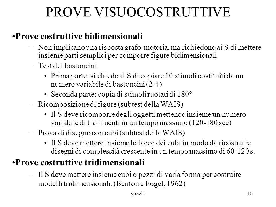 spazio10 PROVE VISUOCOSTRUTTIVE Prove costruttive bidimensionali –Non implicano una risposta grafo-motoria, ma richiedono ai S di mettere insieme part