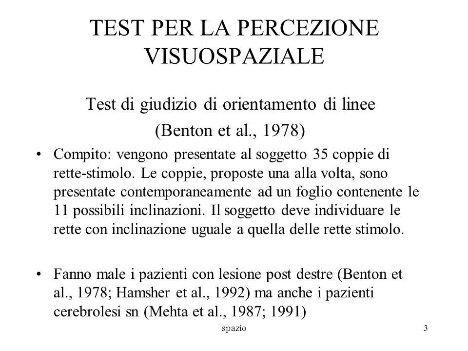 spazio3 TEST PER LA PERCEZIONE VISUOSPAZIALE Test di giudizio di orientamento di linee (Benton et al., 1978) Compito: vengono presentate al soggetto 3