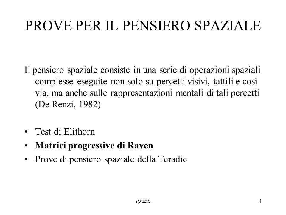 spazio5 PROVE PER IL PENSIERO SPAZIALE Matrici progressive di Raven (Tavole colorate di Raven, 1984) –Sono costituite da 3 serie di 12 item.