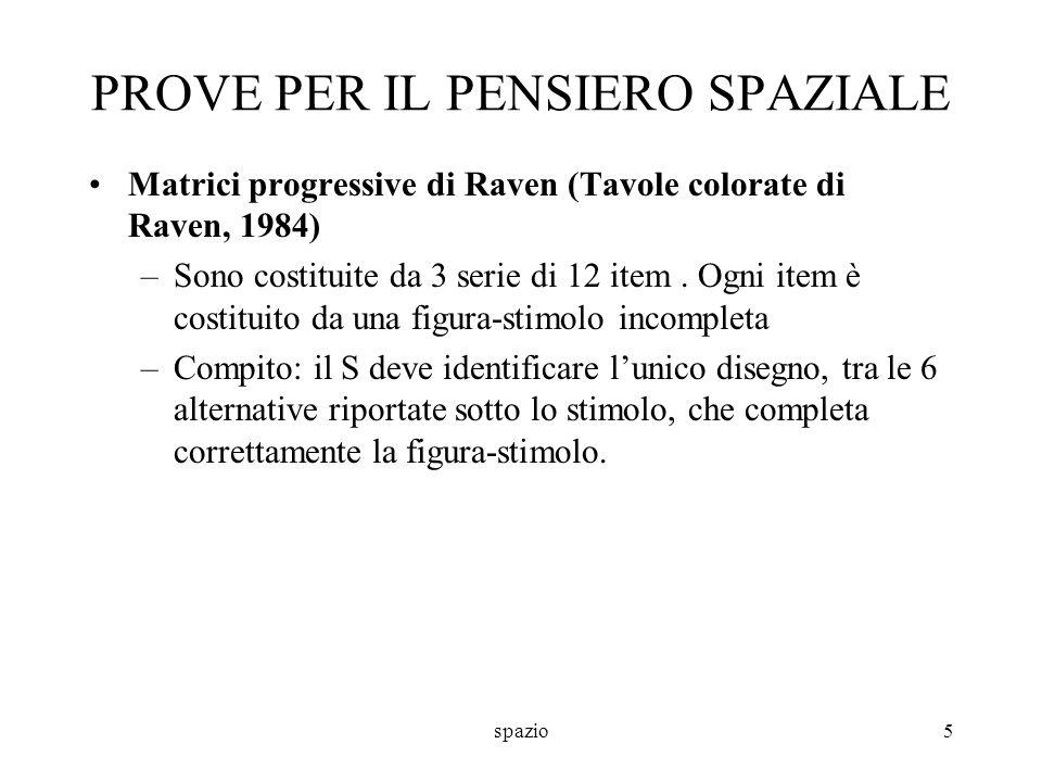 spazio5 PROVE PER IL PENSIERO SPAZIALE Matrici progressive di Raven (Tavole colorate di Raven, 1984) –Sono costituite da 3 serie di 12 item. Ogni item