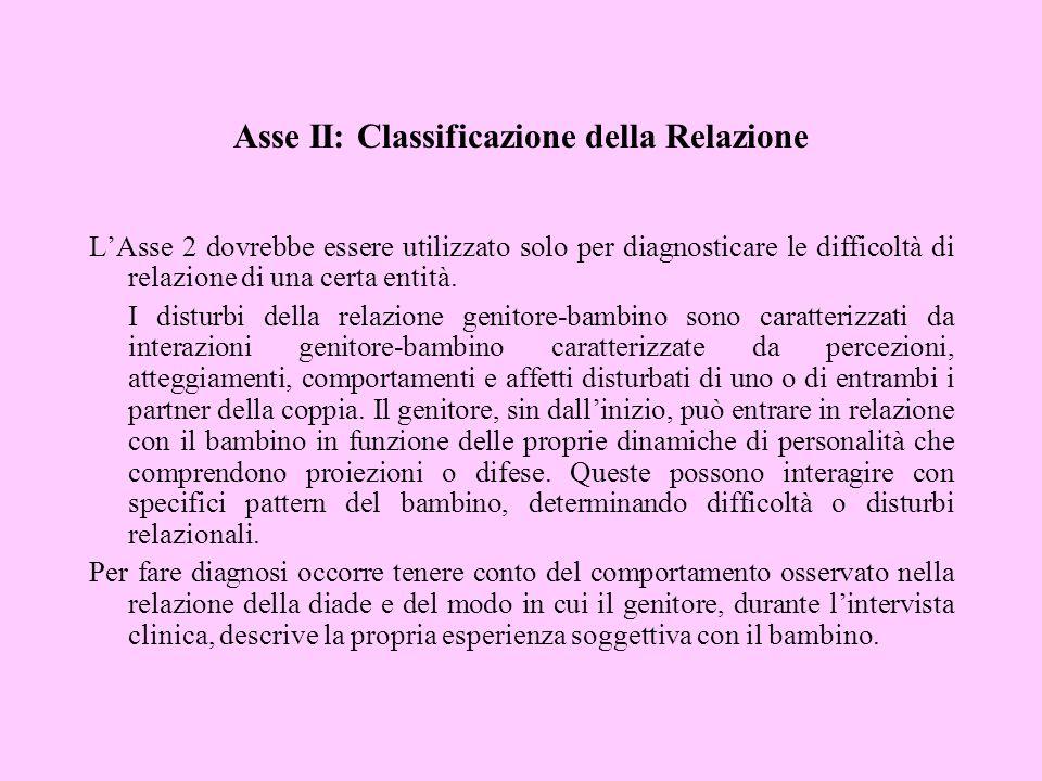 Asse II: Classificazione della Relazione LAsse 2 dovrebbe essere utilizzato solo per diagnosticare le difficoltà di relazione di una certa entità. I d