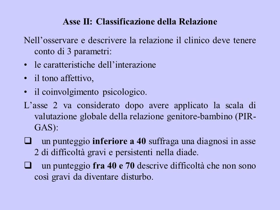 Asse II: Classificazione della Relazione Nellosservare e descrivere la relazione il clinico deve tenere conto di 3 parametri: le caratteristiche delli