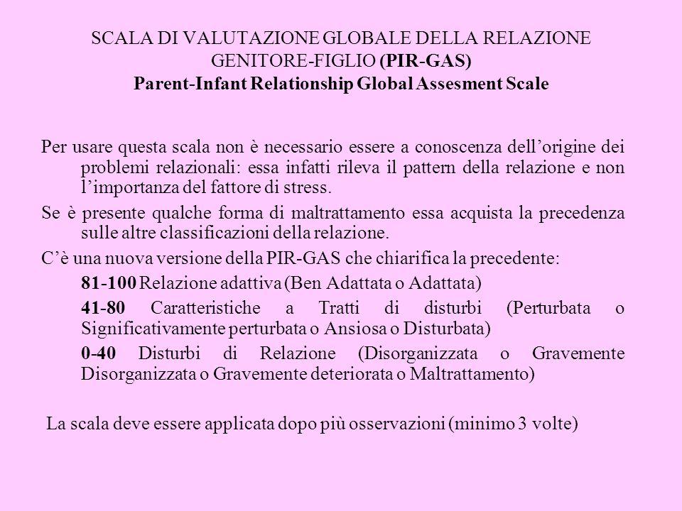 SCALA DI VALUTAZIONE GLOBALE DELLA RELAZIONE GENITORE-FIGLIO (PIR-GAS) Parent-Infant Relationship Global Assesment Scale Per usare questa scala non è