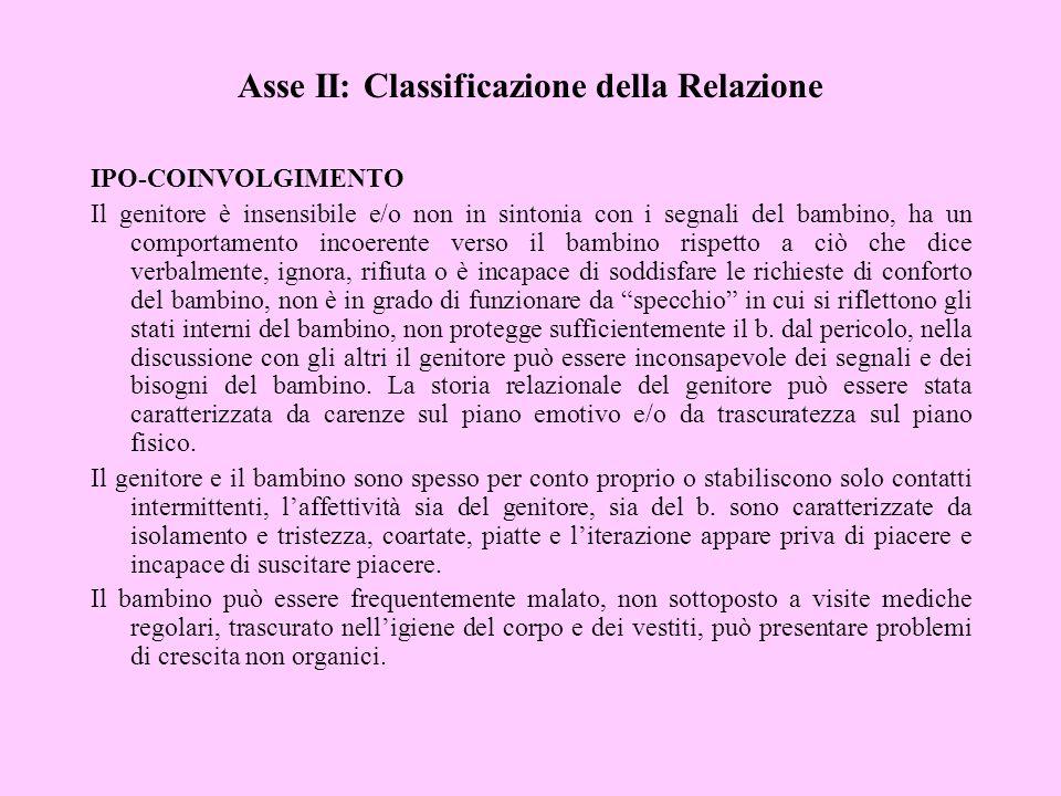 Asse II: Classificazione della Relazione IPO-COINVOLGIMENTO Il genitore è insensibile e/o non in sintonia con i segnali del bambino, ha un comportamen