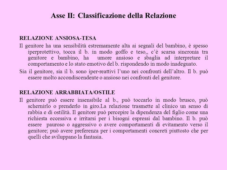 Asse II: Classificazione della Relazione RELAZIONE ANSIOSA-TESA Il genitore ha una sensibilità estremamente alta ai segnali del bambino, è spesso iper