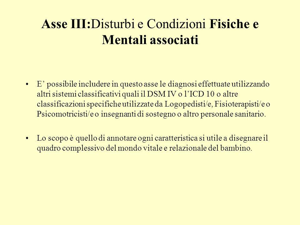 Asse III:Disturbi e Condizioni Fisiche e Mentali associati E possibile includere in questo asse le diagnosi effettuate utilizzando altri sistemi class