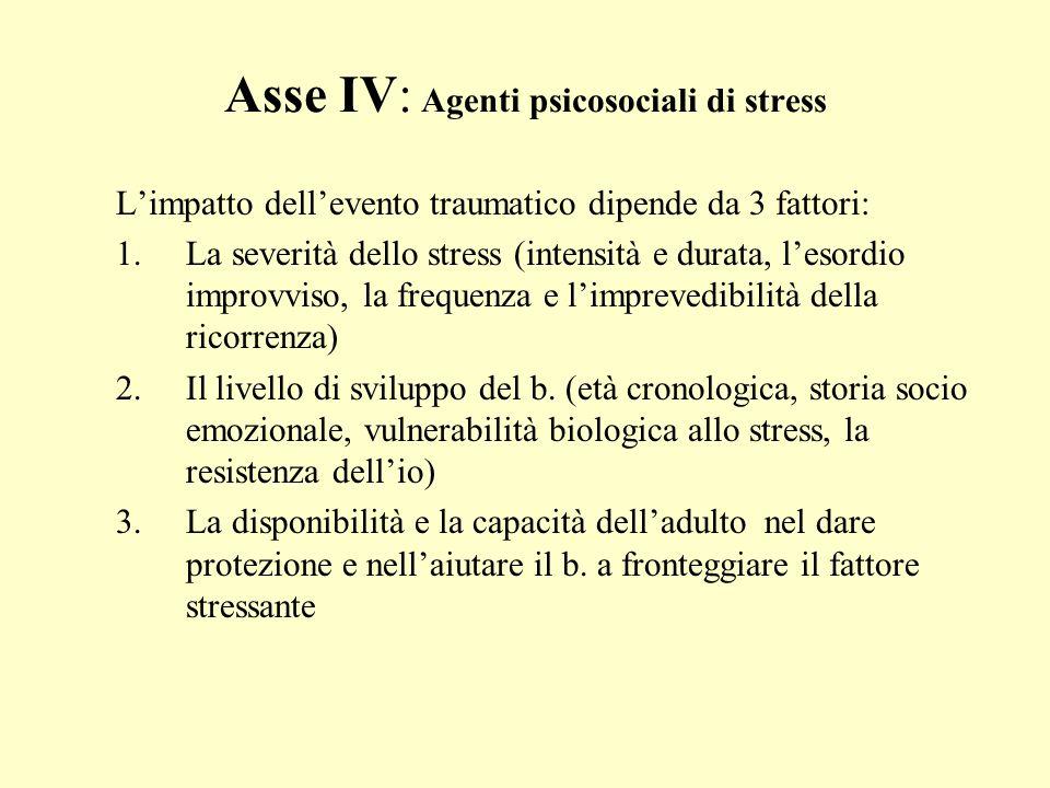 Asse IV: Agenti psicosociali di stress Limpatto dellevento traumatico dipende da 3 fattori: 1.La severità dello stress (intensità e durata, lesordio i