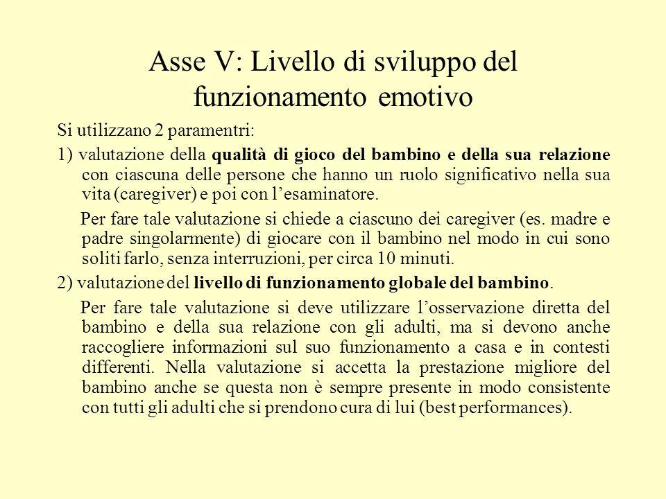 Asse V: Livello di sviluppo del funzionamento emotivo Si utilizzano 2 paramentri: 1) valutazione della qualità di gioco del bambino e della sua relazi
