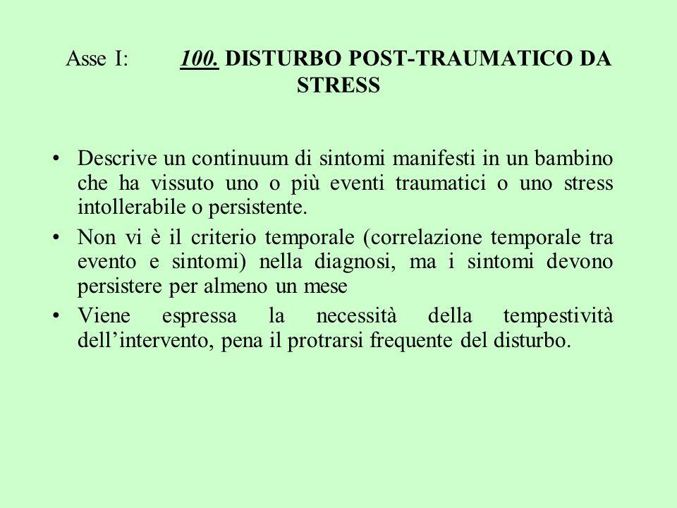 Asse I: 100. DISTURBO POST-TRAUMATICO DA STRESS Descrive un continuum di sintomi manifesti in un bambino che ha vissuto uno o più eventi traumatici o