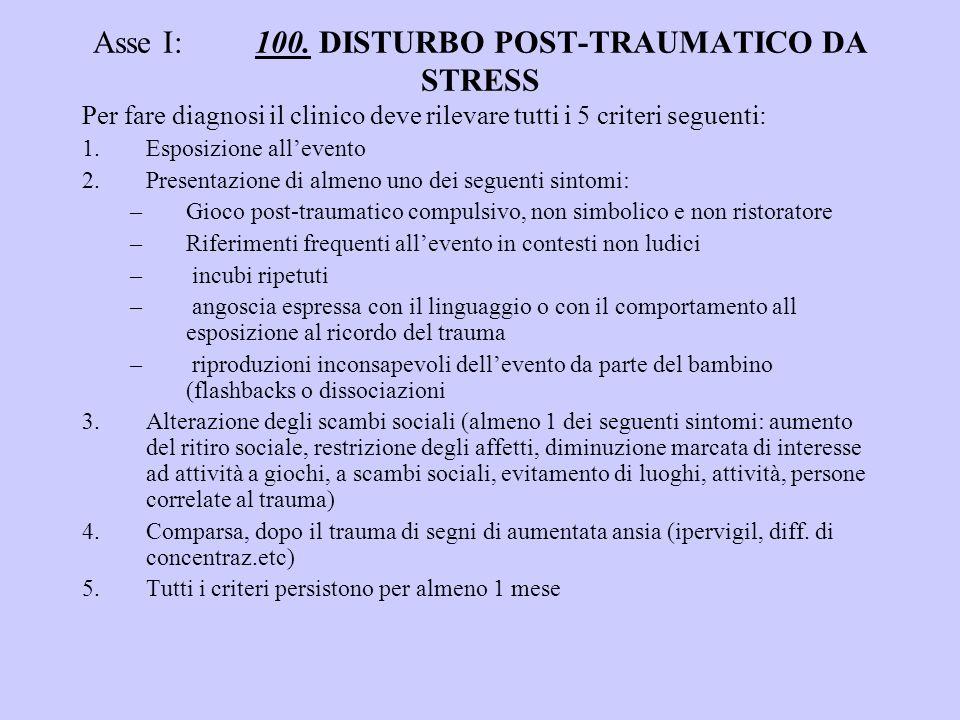 Asse I: 100. DISTURBO POST-TRAUMATICO DA STRESS Per fare diagnosi il clinico deve rilevare tutti i 5 criteri seguenti: 1.Esposizione allevento 2.Prese