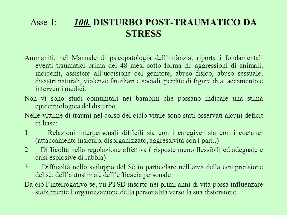 Asse I: 100. DISTURBO POST-TRAUMATICO DA STRESS Ammaniti, nel Manuale di psicopatologia dellinfanzia, riporta i fondamentali eventi traumatici prima d