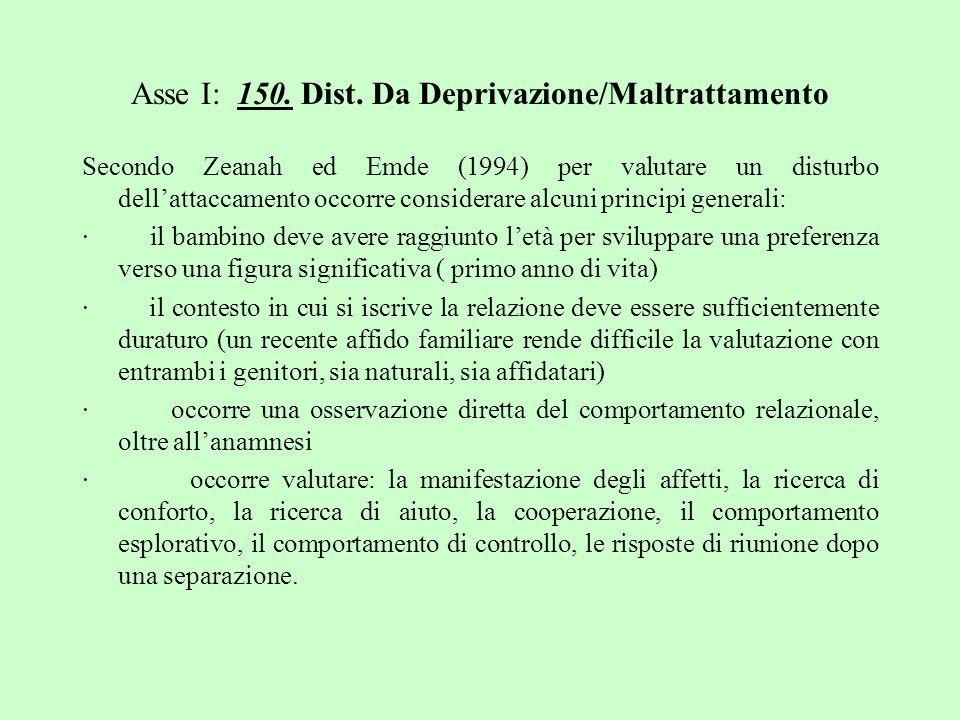 Asse I: 150. Dist. Da Deprivazione/Maltrattamento Secondo Zeanah ed Emde (1994) per valutare un disturbo dellattaccamento occorre considerare alcuni p