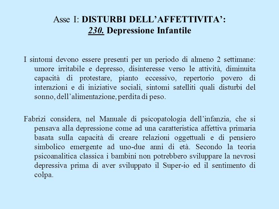 Asse I: DISTURBI DELLAFFETTIVITA: 230. Depressione Infantile I sintomi devono essere presenti per un periodo di almeno 2 settimane: umore irritabile e