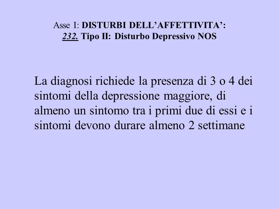 Asse I: DISTURBI DELLAFFETTIVITA: 232. Tipo II: Disturbo Depressivo NOS La diagnosi richiede la presenza di 3 o 4 dei sintomi della depressione maggio