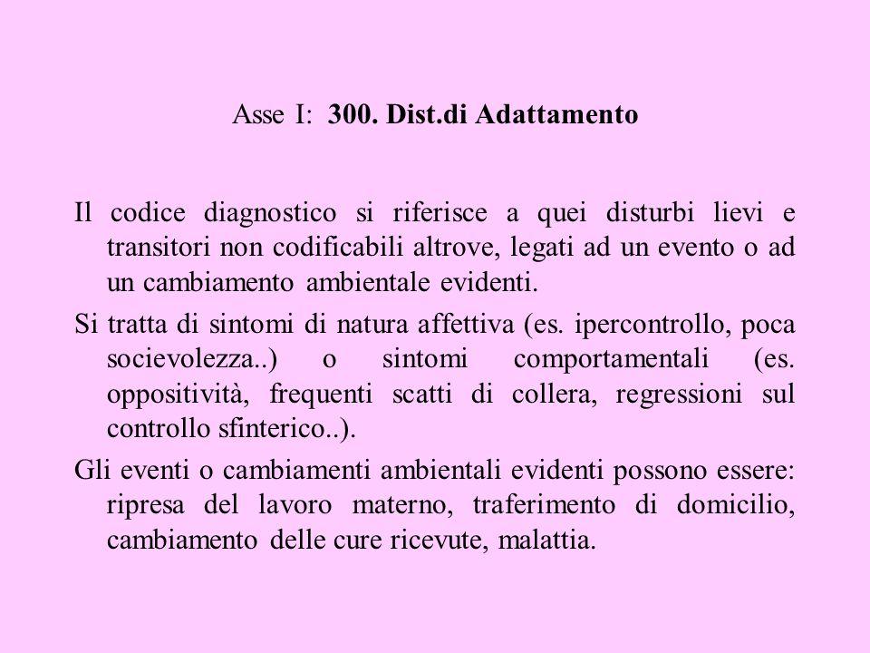 Asse I: 300. Dist.di Adattamento Il codice diagnostico si riferisce a quei disturbi lievi e transitori non codificabili altrove, legati ad un evento o