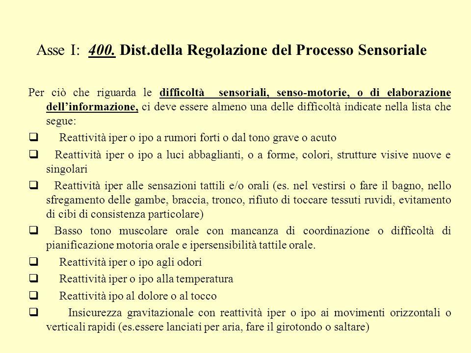 Asse I: 400. Dist.della Regolazione del Processo Sensoriale Per ciò che riguarda le difficoltà sensoriali, senso-motorie, o di elaborazione dellinform