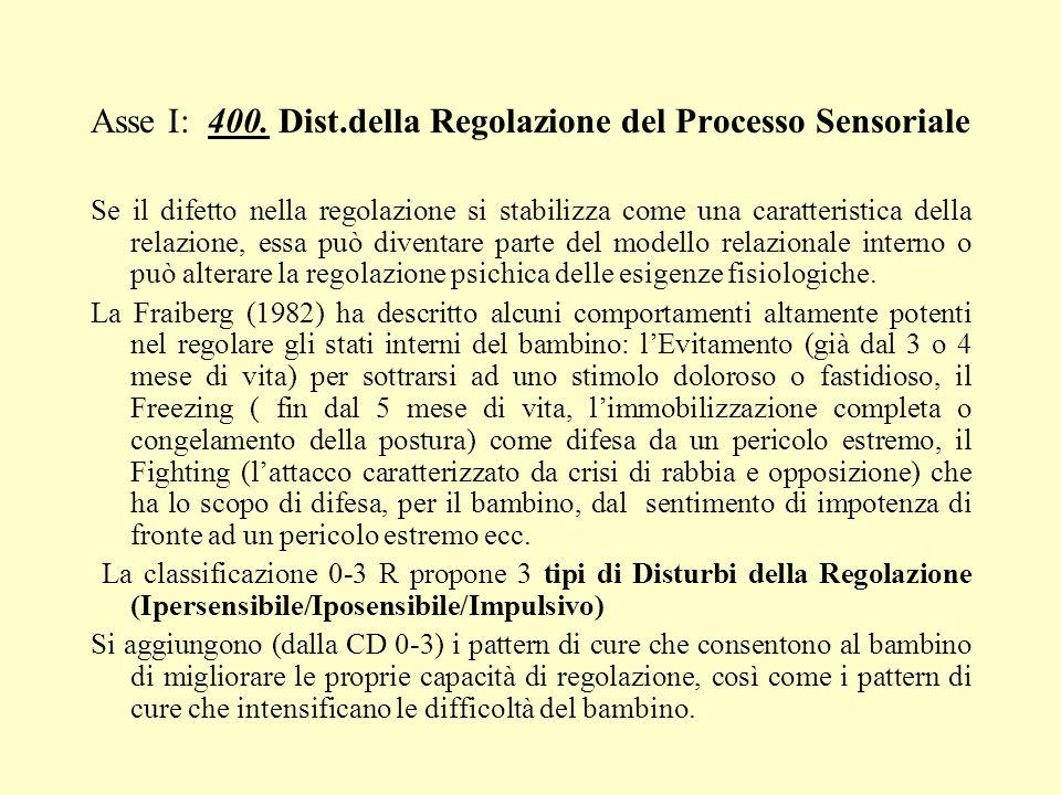 Asse I: 400. Dist.della Regolazione del Processo Sensoriale Se il difetto nella regolazione si stabilizza come una caratteristica della relazione, ess