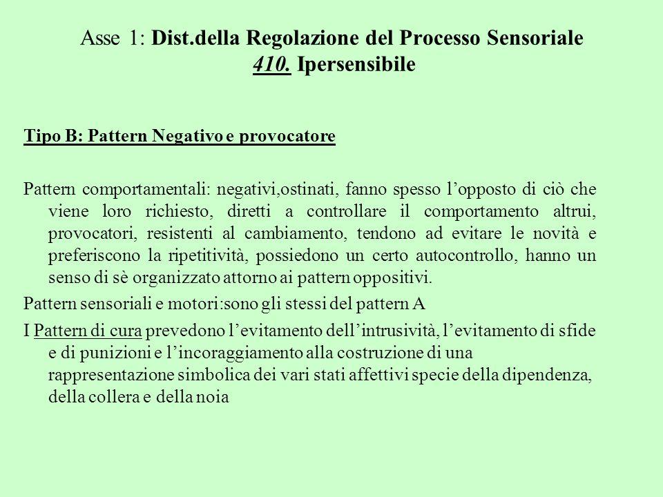 Asse 1: Dist.della Regolazione del Processo Sensoriale 410. Ipersensibile Tipo B: Pattern Negativo e provocatore Pattern comportamentali: negativi,ost
