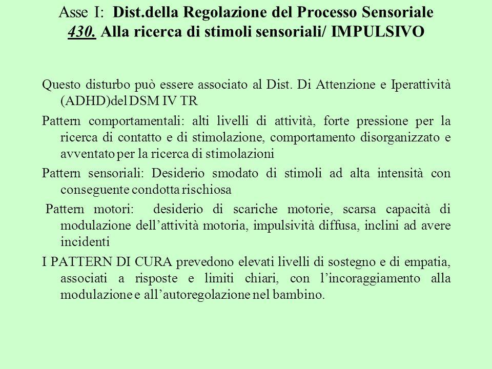 Asse I: Dist.della Regolazione del Processo Sensoriale 430. Alla ricerca di stimoli sensoriali/ IMPULSIVO Questo disturbo può essere associato al Dist