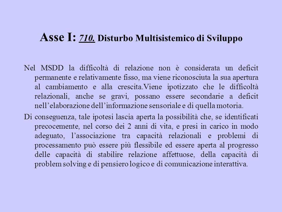 Asse I: 710. Disturbo Multisistemico di Sviluppo Nel MSDD la difficoltà di relazione non è considerata un deficit permanente e relativamente fisso, ma