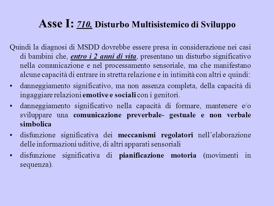 Asse I: 710. Disturbo Multisistemico di Sviluppo Quindi la diagnosi di MSDD dovrebbe essere presa in considerazione nei casi di bambini che, entro i 2