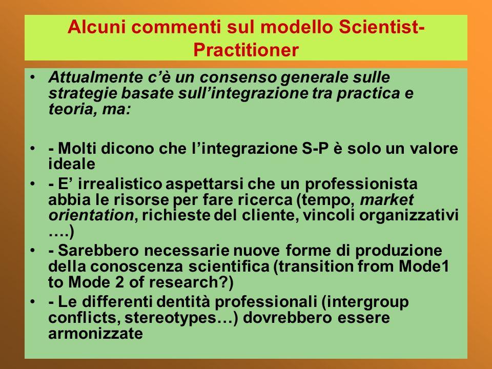 Alcuni commenti sul modello Scientist- Practitioner Attualmente cè un consenso generale sulle strategie basate sullintegrazione tra practica e teoria,