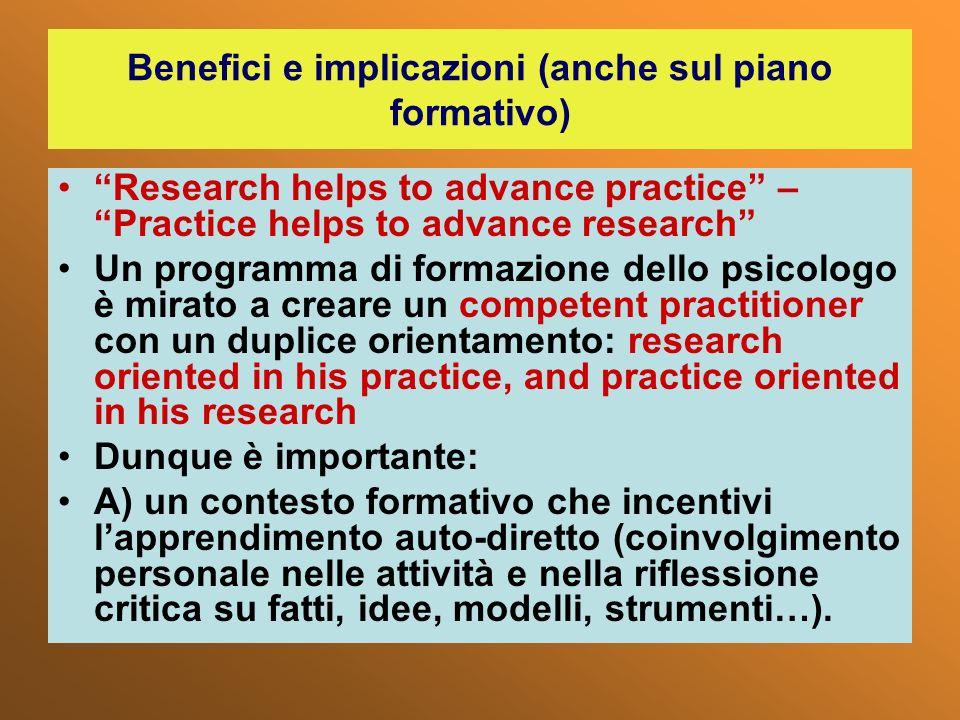 Benefici e implicazioni (anche sul piano formativo) Research helps to advance practice – Practice helps to advance research Un programma di formazione