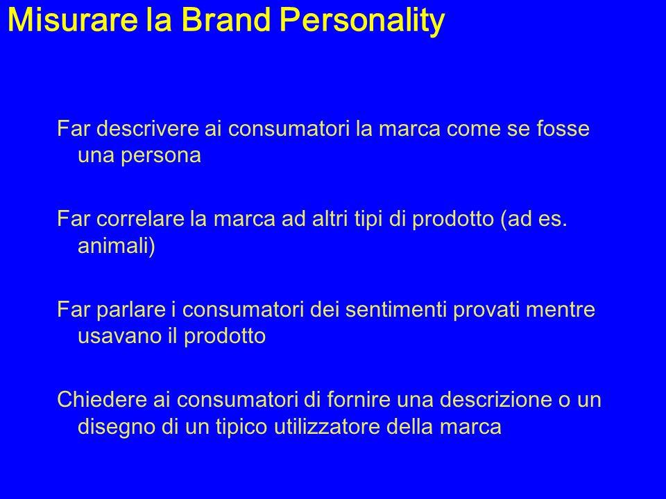 Misurare la Brand Personality Far descrivere ai consumatori la marca come se fosse una persona Far correlare la marca ad altri tipi di prodotto (ad es