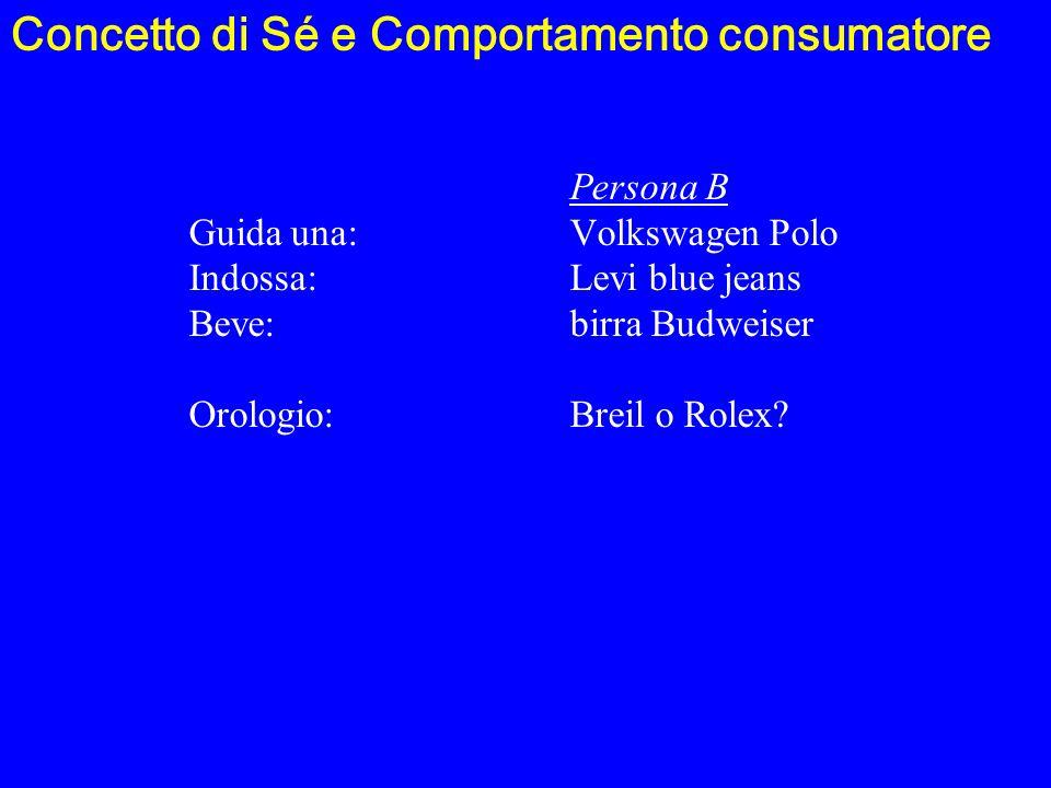 Persona B Guida una:Volkswagen Polo Indossa:Levi blue jeans Beve:birra Budweiser Orologio:Breil o Rolex? Concetto di Sé e Comportamento consumatore