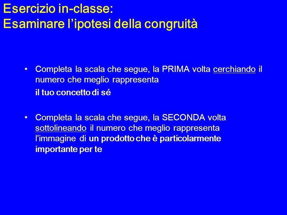 Esercizio in-classe: Esaminare lipotesi della congruità Completa la scala che segue, la PRIMA volta cerchiando il numero che meglio rappresenta il tuo