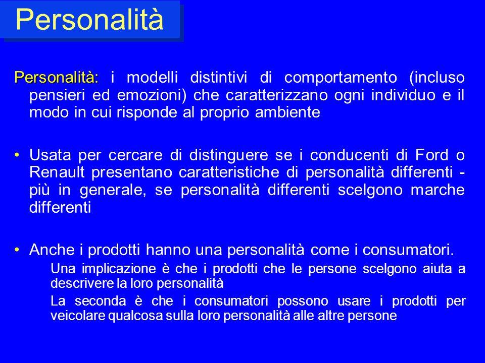Personalità Personalità: Personalità: i modelli distintivi di comportamento (incluso pensieri ed emozioni) che caratterizzano ogni individuo e il modo