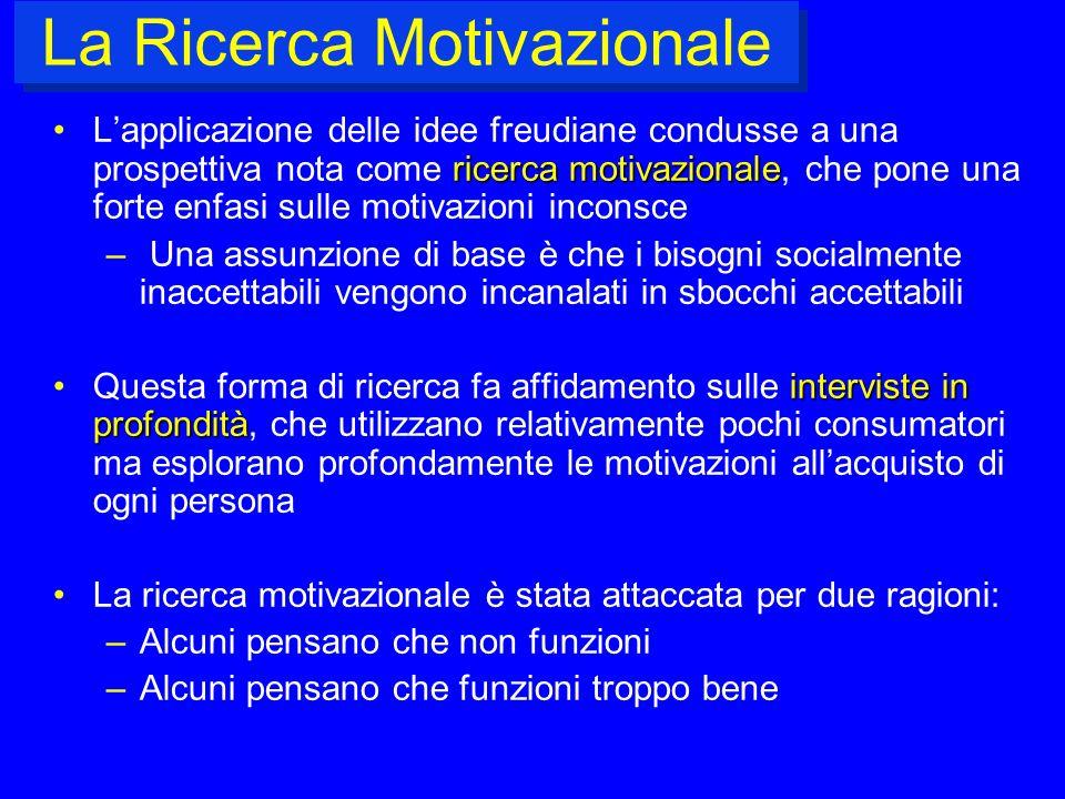 La Ricerca Motivazionale ricercamotivazionaleLapplicazione delle idee freudiane condusse a una prospettiva nota come ricerca motivazionale, che pone u