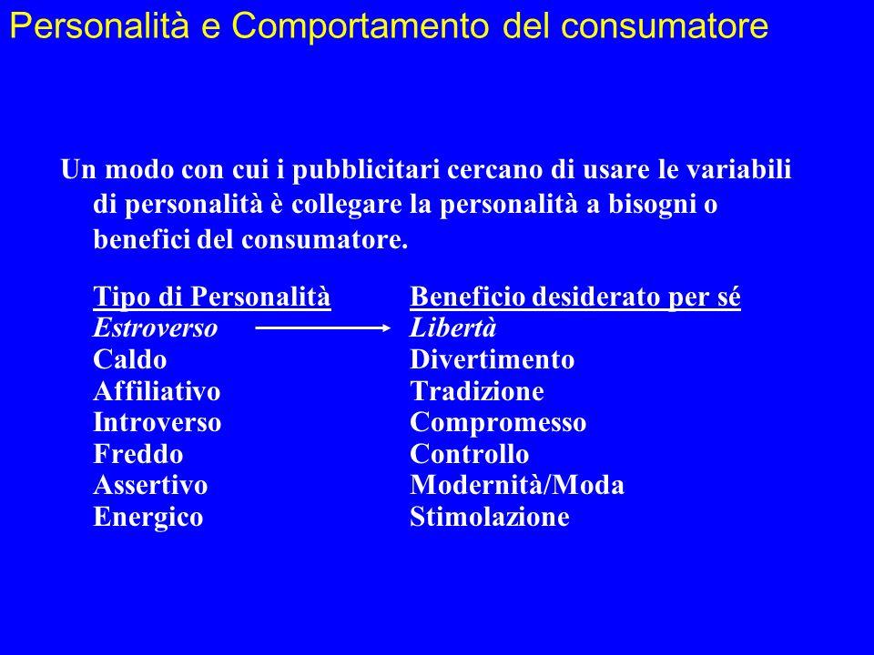 Personalità e Comportamento del consumatore Un modo con cui i pubblicitari cercano di usare le variabili di personalità è collegare la personalità a b