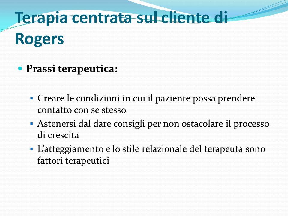 Terapia centrata sul cliente di Rogers Qualità fondamentali del terapeuta Autenticità o congruenza Considerazione positiva incondizionata Profonda comprensione empatica