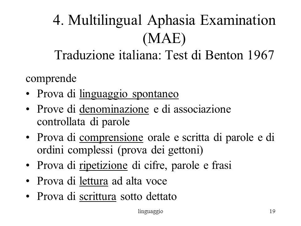 linguaggio19 4. Multilingual Aphasia Examination (MAE) Traduzione italiana: Test di Benton 1967 comprende Prova di linguaggio spontaneo Prove di denom