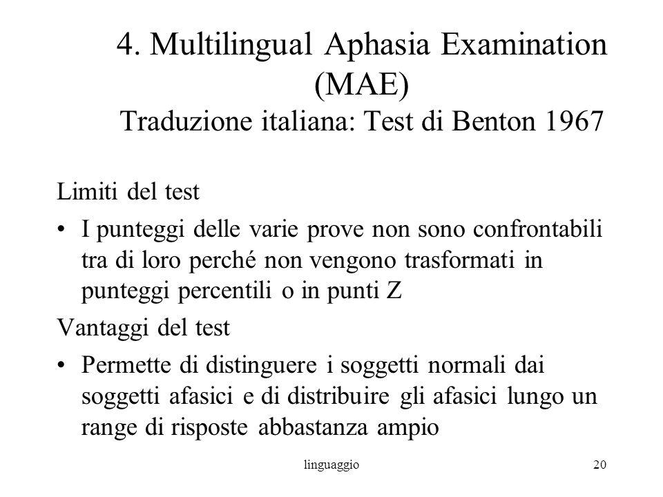linguaggio20 4. Multilingual Aphasia Examination (MAE) Traduzione italiana: Test di Benton 1967 Limiti del test I punteggi delle varie prove non sono