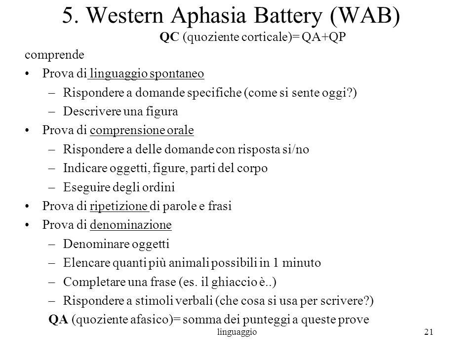 linguaggio21 5. Western Aphasia Battery (WAB) QC (quoziente corticale)= QA+QP comprende Prova di linguaggio spontaneo –Rispondere a domande specifiche