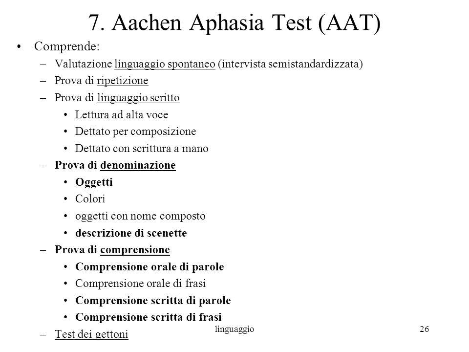 linguaggio26 7. Aachen Aphasia Test (AAT) Comprende: –Valutazione linguaggio spontaneo (intervista semistandardizzata) –Prova di ripetizione –Prova di