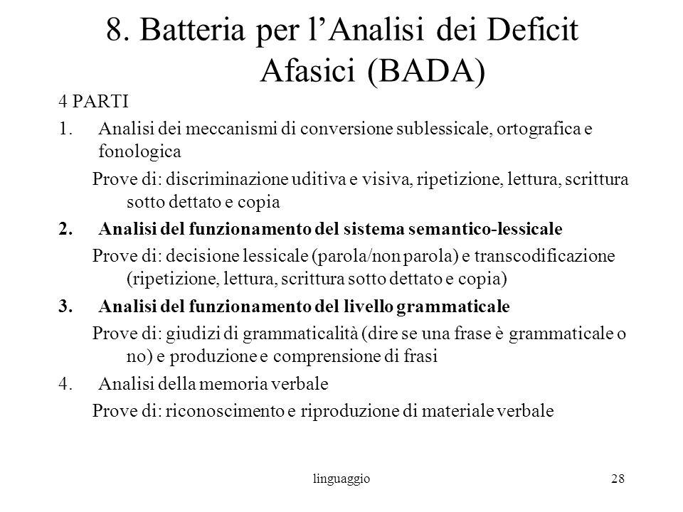 linguaggio28 8. Batteria per lAnalisi dei Deficit Afasici (BADA) 4 PARTI 1.Analisi dei meccanismi di conversione sublessicale, ortografica e fonologic