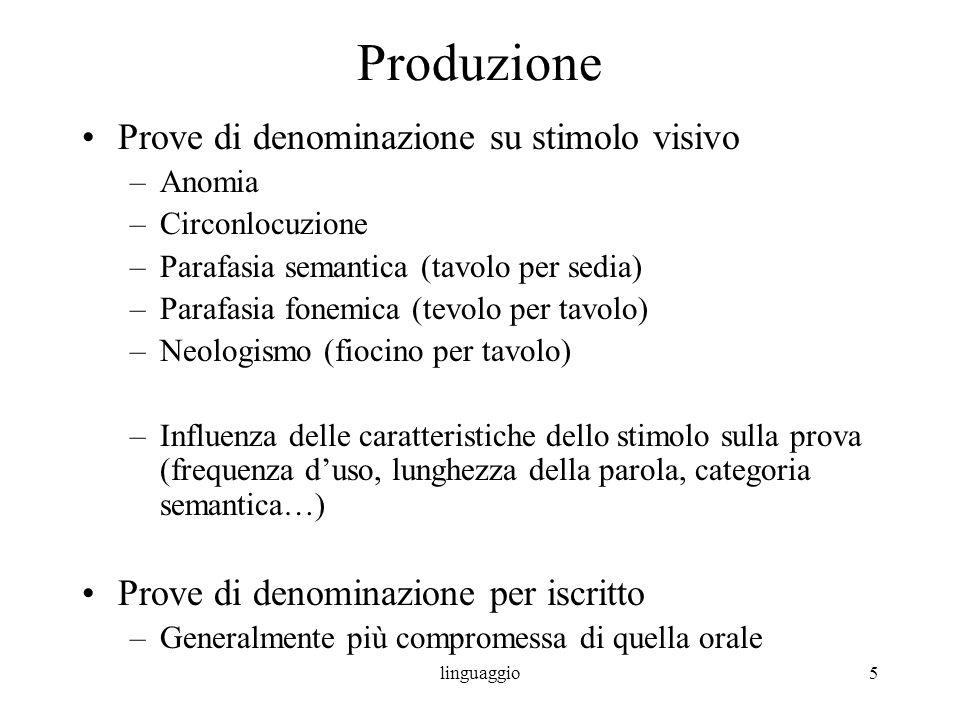 linguaggio5 Produzione Prove di denominazione su stimolo visivo –Anomia –Circonlocuzione –Parafasia semantica (tavolo per sedia) –Parafasia fonemica (