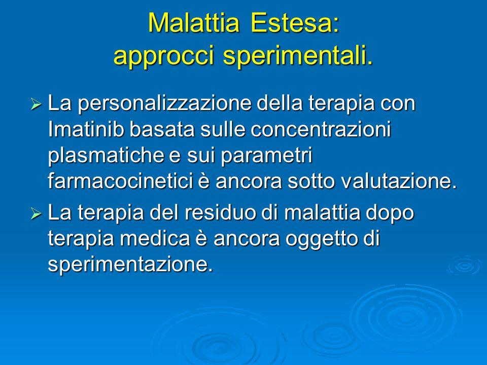 Malattia Estesa: approcci sperimentali. La personalizzazione della terapia con Imatinib basata sulle concentrazioni plasmatiche e sui parametri farmac